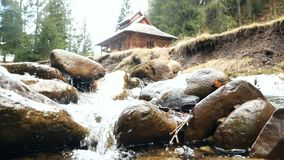 Spring mountain river. Raging clean fresh mountain river flowing stock video footage