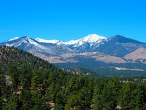 Spring Mountain and Valley of Pines. A thawing mountain with patches of snow next to a valley of pine trees in Yosemite Valley, California royalty free stock photo