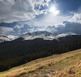 Spring in mountains. A mountain landscape in early spring Stock Images