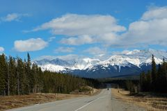 spring mountains and road stock photo