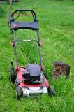 Spring mowing grass in the garden, south Bohemia Stock Images