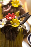 Spring muffins decorated with flower Royalty Free Stock Photos