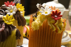Spring muffins decorated with flower Royalty Free Stock Photography