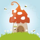 Spring Mushroom House Bees Flower Grass Green Door Royalty Free Stock Image