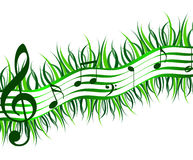 Spring music. Stave musical of grass and music notes Stock Photography