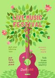 Spring music festival. Template Design Poster with acoustic guitar silhouette spring green leaves. Design idea Live Music Festival show promotion advertisement royalty free illustration