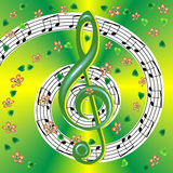 Spring musical poster with treble clef and notes Royalty Free Stock Image