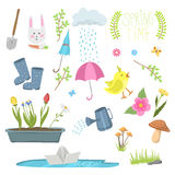 Spring natural floral symbols with blossom gardening tools beauty design and nature grass season branch springtime hand. Drawn elements vector illustration Royalty Free Stock Images
