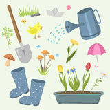 Spring natural floral symbols with blossom gardening tools beauty design and nature grass season branch springtime hand Royalty Free Stock Photography