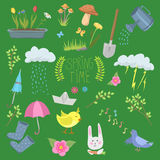 Spring natural floral symbols with blossom gardening tools beauty design and nature grass season branch springtime hand Stock Photos