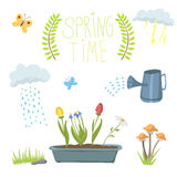 Spring natural floral symbols with blossom gardening tools beauty design and nature grass season branch springtime hand. Drawn elements vector illustration Stock Photos