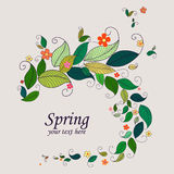 Spring nature background frame. Frame from leaves and flowers. Nature frames templates. Spring background Royalty Free Stock Images