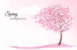 Spring nature background with a pink blooming sakura tree. royalty free illustration