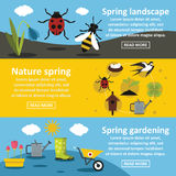 Spring nature banner horizontal set, flat style Stock Photo