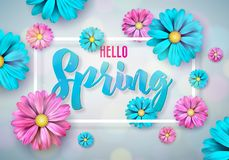 Spring nature design with beautiful colorful flower on clean background. Vector floral design template with typography. Letter Royalty Free Stock Images