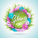 Spring nature design with beautiful colorful flower on green grass background. Vector floral design template with. Typography letter vector illustration