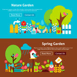Spring Nature Garden Flat Website Banners Set. Vector Illustration for Website banner and landing page. Gardening Tools Modern Design Royalty Free Stock Photo