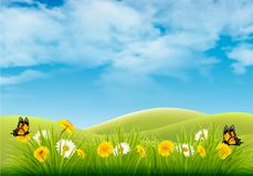 Spring nature landscape background with flowers and butterflies. Vector Royalty Free Stock Photography