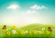 Spring nature landscape background with flowers and butterflies. Royalty Free Stock Photo