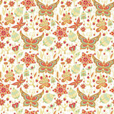 Spring nature pattern. Seamless spring floral background with butterflies and birds Vector Illustration