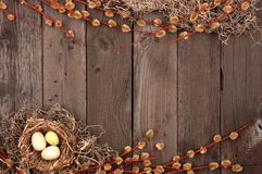 Spring nest double border with willow branches over rustic wood Royalty Free Stock Photography