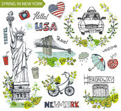 Spring in New York.Famous landmarks,floral decor set Stock Images