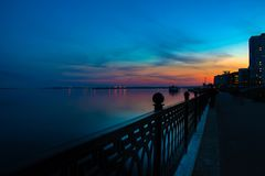 Free Spring Night City Saratov Quay Under Sunset. Street Decorative Lights And Beautiful Sky Stock Image - 145632271