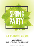 Spring night club party flyer invitation  illustration. Poster template. White and green background Royalty Free Stock Photography