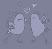 Spring night couple of funny birds in love. Colored hand drawn couple of funny birds in love in spring night illustration available in  format Stock Photo
