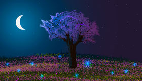 Spring. Night landscape. Blooming tree on a hill with flowers and glowworms. Royalty Free Stock Photo