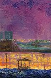 Spring night on the shore of the city lake.Oil painting on canva. Spring night on the shore of the city lake.Oil painting. Purple and orange color scheme. Arbor stock illustration