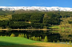 Spring in Norway. Spring landscape with lake in Norway Stock Photo
