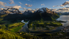 Spring Norwegian landscape. Beautiful spring covered the Norway`s fjords Stock Photography