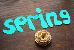 Spring note and flower Stock Photos