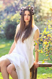 Spring nymph in white dress Royalty Free Stock Image