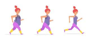 Spring- och förloravikt för flicka vektor royaltyfri illustrationer