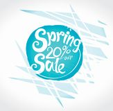 Spring 20% off Sale. Handwriting vector template. Bright colored hand drawn inscription round symbol Stock Photo