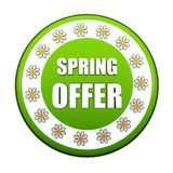 Spring offer green circle label with flowers Royalty Free Stock Photography