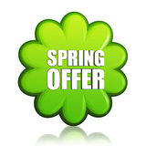 Spring offer green flower label Royalty Free Stock Image