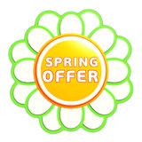 Spring offer green orange flower label Stock Image