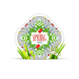 Spring offer label with realistic grass Stock Photos