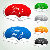 Spring offer labels - oval stickers Stock Photography