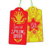 Spring offer and sale labels Stock Photography