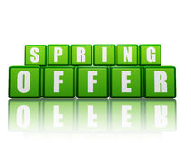 Spring offer - text in green boxes Royalty Free Stock Photo