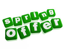 Spring offer - text in green cubes Royalty Free Stock Photos