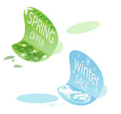 Spring Offer & Winter Sale Stickers Royalty Free Stock Image