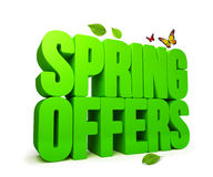 Spring Offers Green 3D Word  Stock Image