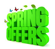 Spring Offers Green 3D Word  Royalty Free Stock Photo