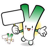 Spring onion character holding a banner Stock Photos