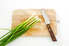 Spring onion on cutting board and knife Stock Image